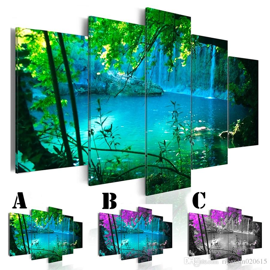 Wall Art Picture Printed Oil Painting on Canvas No Frame 5pcs/set Home Decor Extra Mirror Border Landscape Blue Pool