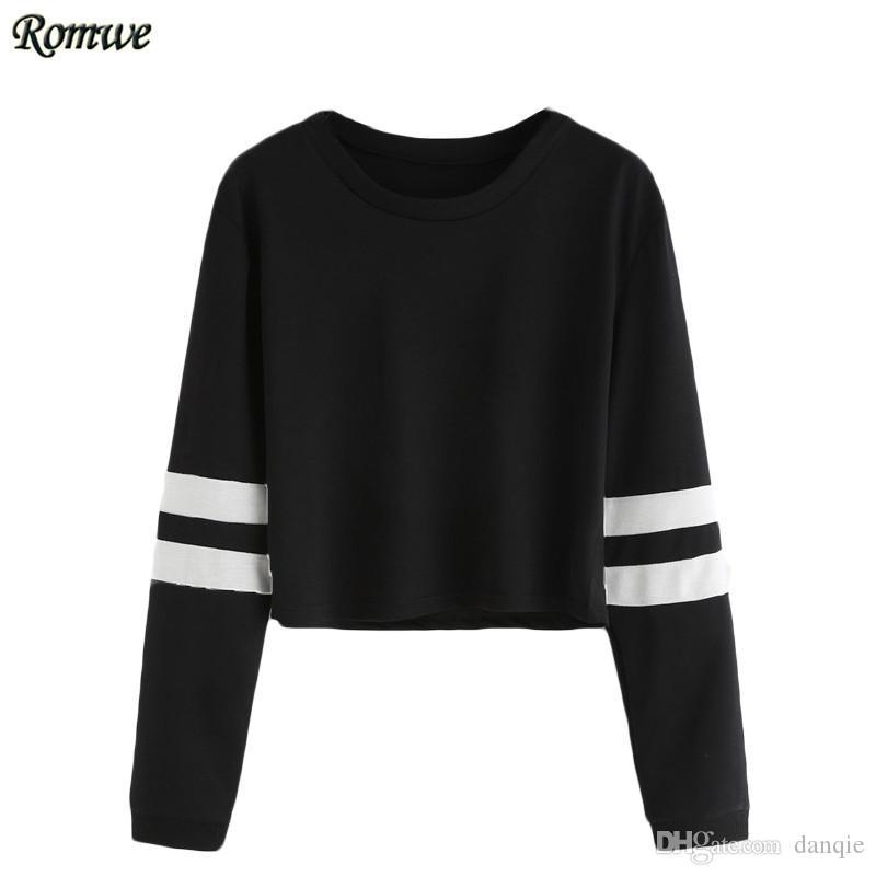 a350fa4577ad5 Gros-ROMWE T shirt Femmes 2016 Vêtements Casual Dames Automne Tees Col Rond  Varsity Rayé À Manches Longues T-shirt