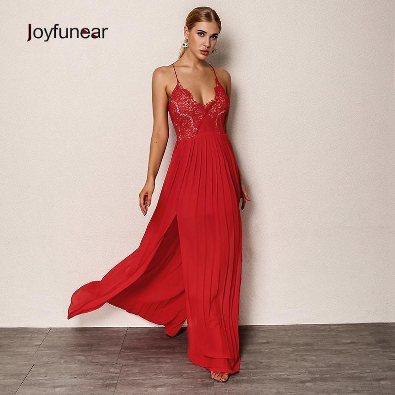 05adfc0789f 20187 Joyfunear Chic New Sexy Women Summer Dress 2018 Backless Bodycon Red  Maxi Dress V Neck Elegant Party Dresses Female Vestidos Formal Dress  Backless ...