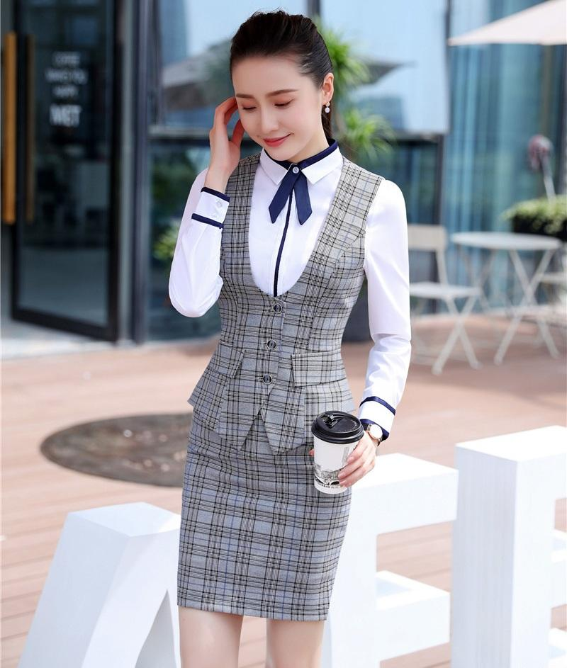 a742642739a3 2019 Fashion Women Business Suits With Skirt And Top Sets Vest & Waistcoat  Grey Plaid Office Ladies Work Uniforms Styles From Caeley, $54.09    DHgate.Com