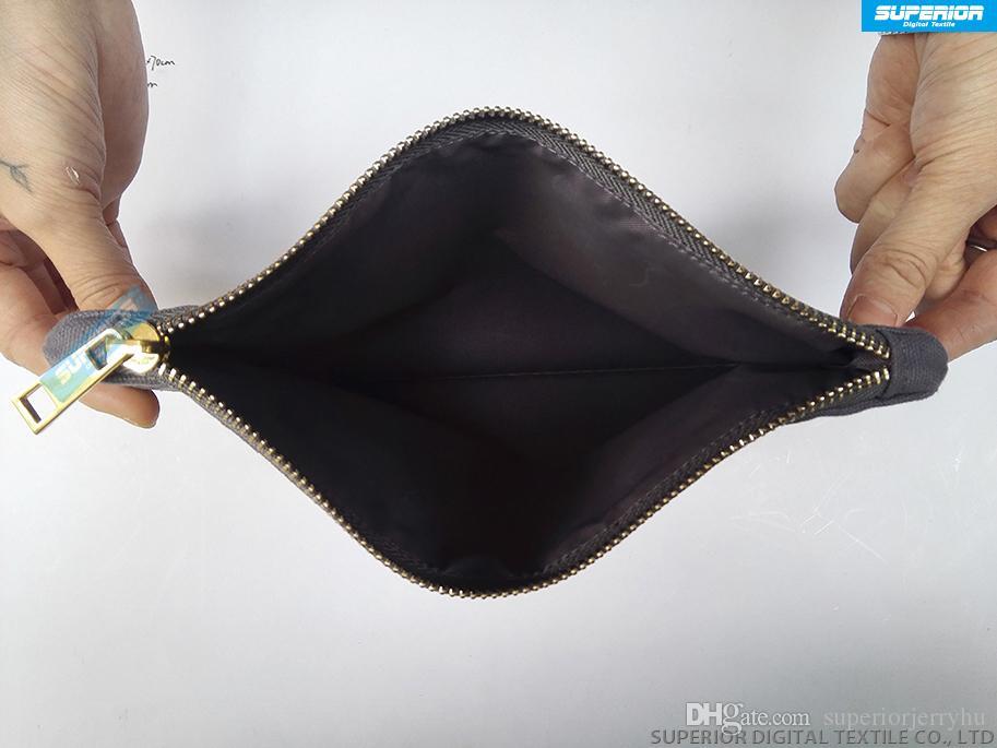 Semplici colori solidi Puro sacchetto di tela di cotone con cerniera in bianco Custodia con cerniera in metallo dorato di alta qualità Avere i fodera Cerniera