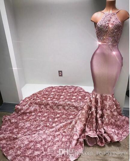 Cascading Ruffles Rose Pink Long Prom Dresses Halter Sexy Back Rose Flower Sweep Train Appliques Beaded Sequined Mermaid Evening Dress