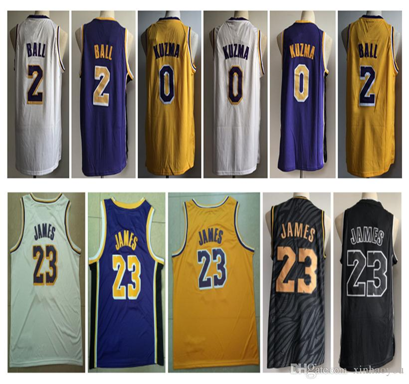 new product 20842 2c141 2018-19 Men Top Sell 23 LeBron James jersey 0# Kyle Kuzma Jerseys 2#Lonzo  Ball Whish Embroidery Logos 100% Stitched Jerseys