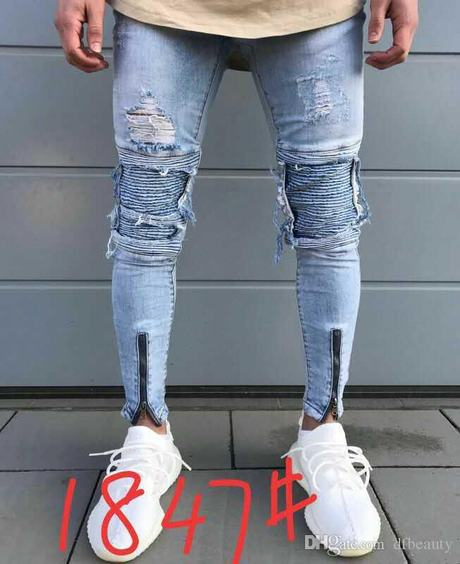 Atacado new designer homens jeans destruído mens slim denim motociclista jeans skinny jeans rasgado motocicleta tamanho 28-38