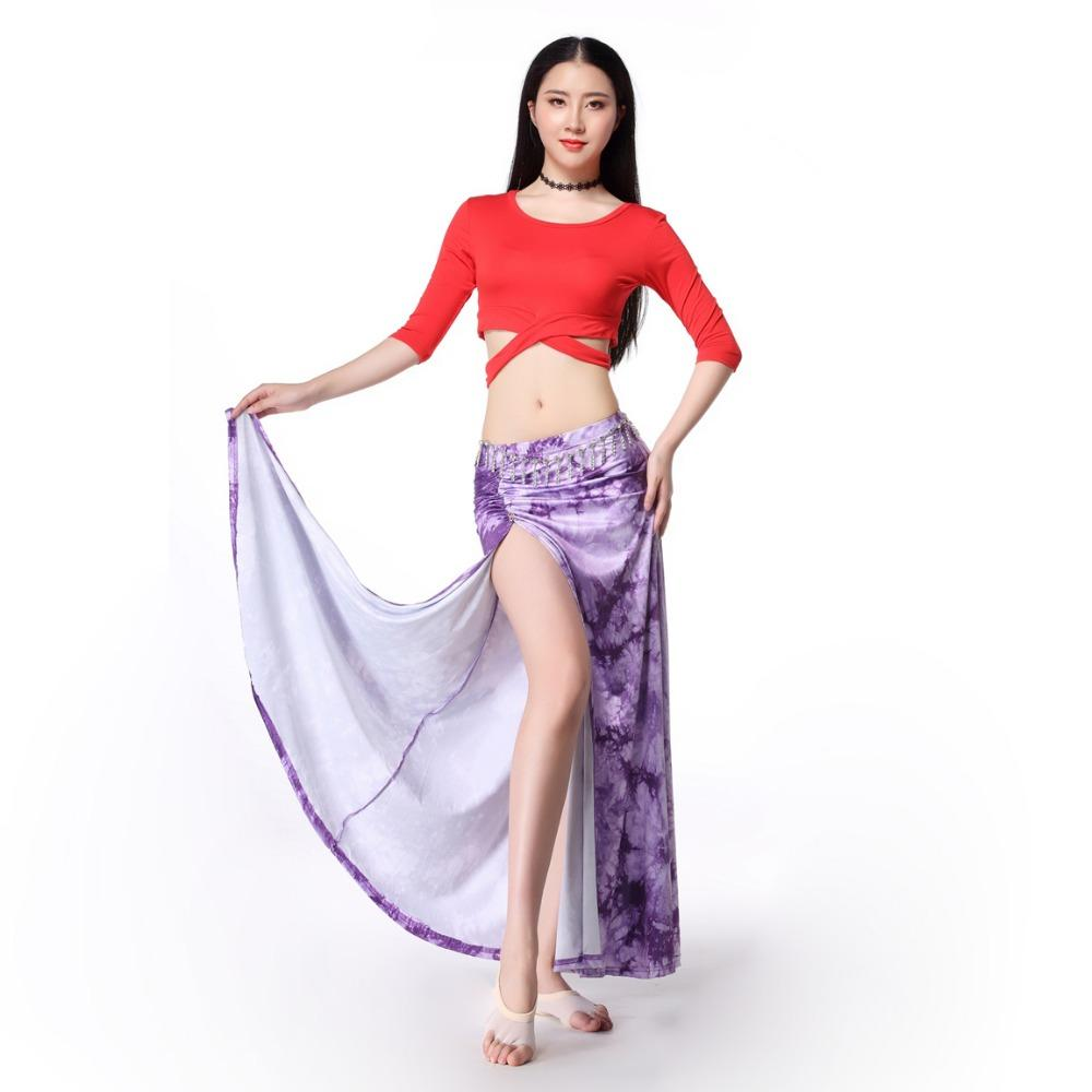New Women Dance Clothing Class Wear Spandex Stretchy Colorful Tie-dye  Spandex Belly Dance Costume Top Skirt Sexy