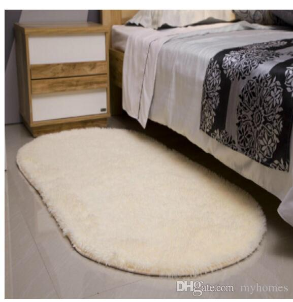 Yüksek Kaliteli Yatak Odası Flutty Yuvarlak Kilim Anti-Patinaj Tüylü Oturma Araba alan Kilim Yemek Odası Ev Halı Zemin Mat Flokati Çekyat Yatak Odası Sazan