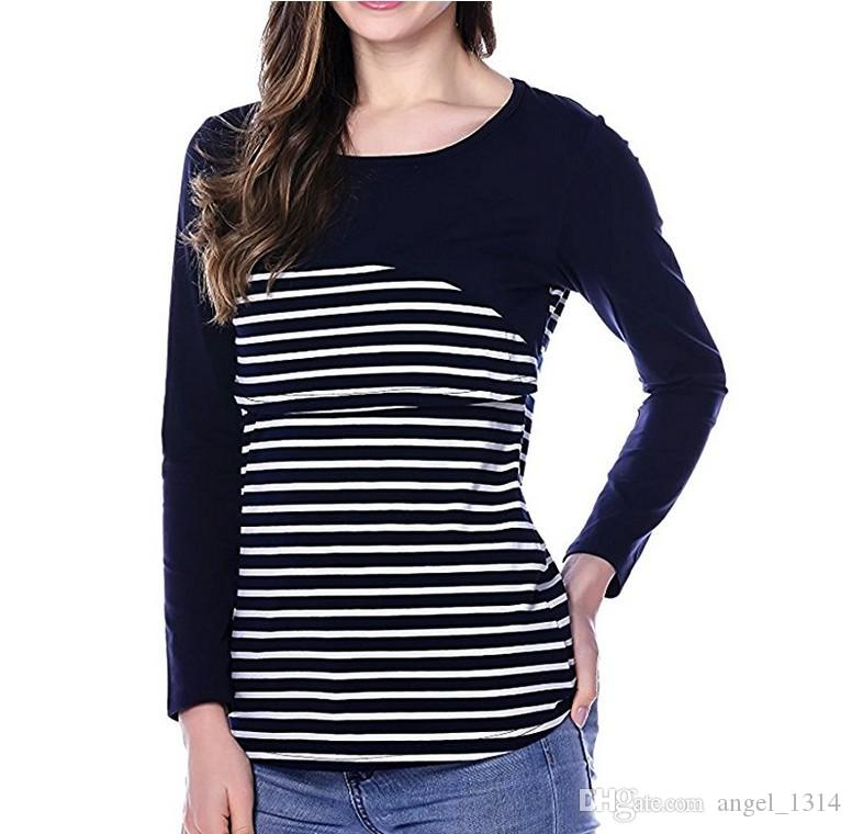 8e3b0ecaeb25b 2019 Fashion Cotton Striped Nursing Shirts For Pregnant Women Maternity  Breastfeeding T Shirt Breast Feeding Tops Clothes For Pregnant Women From  Angel_1314 ...