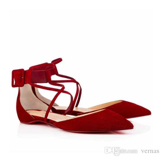 07e1e2a786203 Sexy Red Bottom Suzanna Flat PVC Flat Genuine Leather Women Ballerinas Shoes  Ankle Strap Ladies Pinted Toe Luxury Brand Party Wedding Sperry Shoes  Silver ...