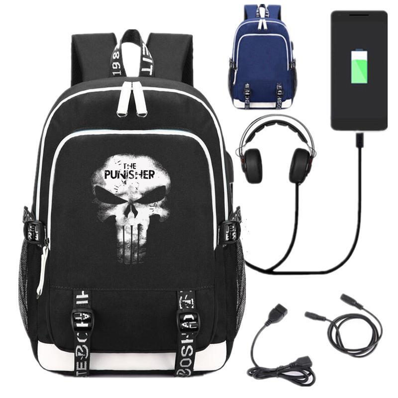 7e1b42e19 Compre Novo Herói Punisher Mochila Escolar Mochila Unisex Laptop Preto  Sacos De Ombro Mochila Interface De Carga USB Saco De Viagem De Gavingg, ...