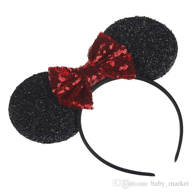 HOT Girl Cute Black Mouse Ears Hairband With Sequin Hair Bow Kids Bling Glitter Hair Bands Holiday Hair Accessories For Children