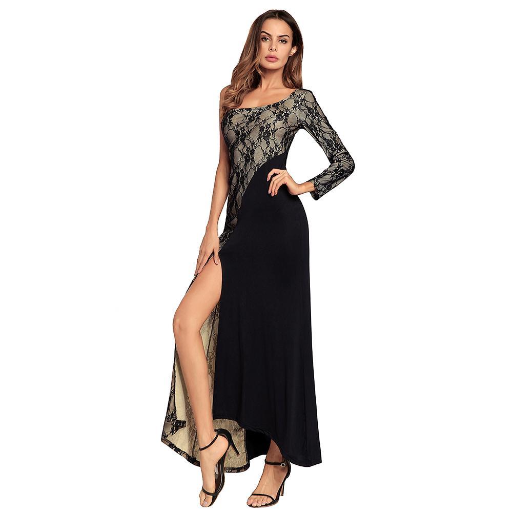 9ce8c995265e Sexy Women One Shoulder Maxi Dress Lace Split Long Sleeve Slim Fit Bodycon Dress  Evening Party Long Dress Blue/Red/Black Vestido Long Short Dress Cocktail  ...