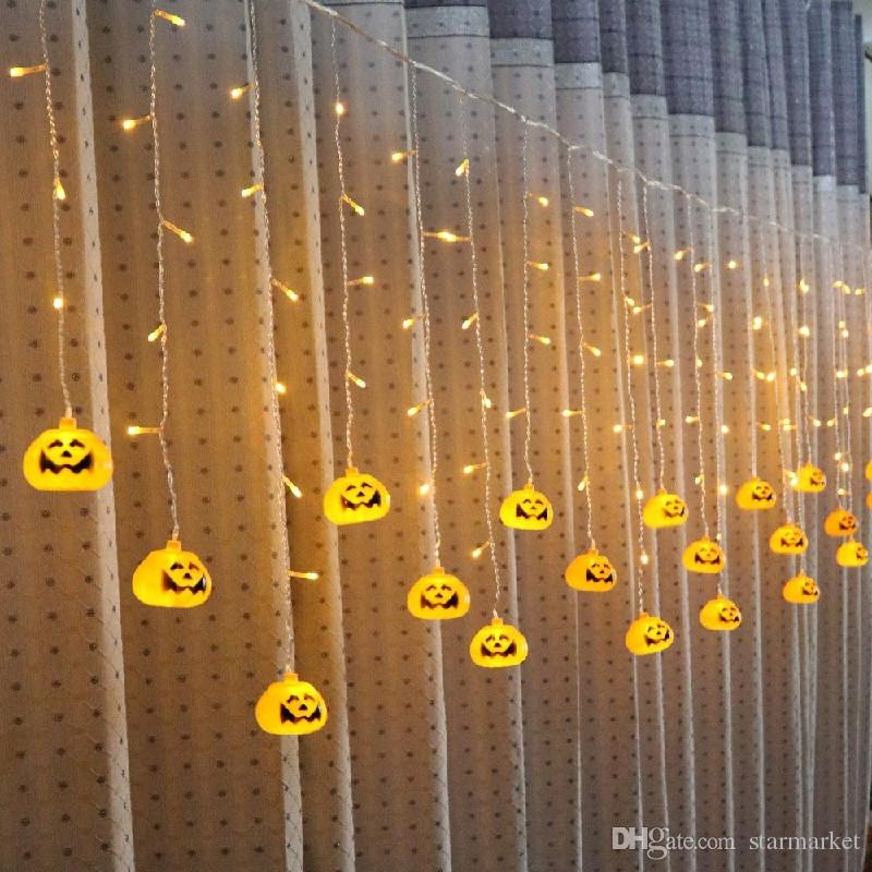 Holiday Lighting Idea Pumpkin / Skeleton / Spider 3.5M 96Led luz de la cortina Decoración de Halloween Party Luz de la ventana Carámbano String LED Lights