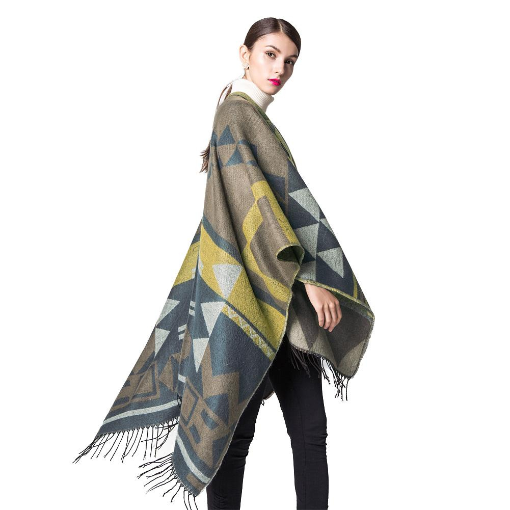 New Elegant Women Knitted Shawl Poncho Faux Cashmere Geometric Pattern Tassel Oversized Long Bohemia Cape Orange/Blue/Yellow/Red