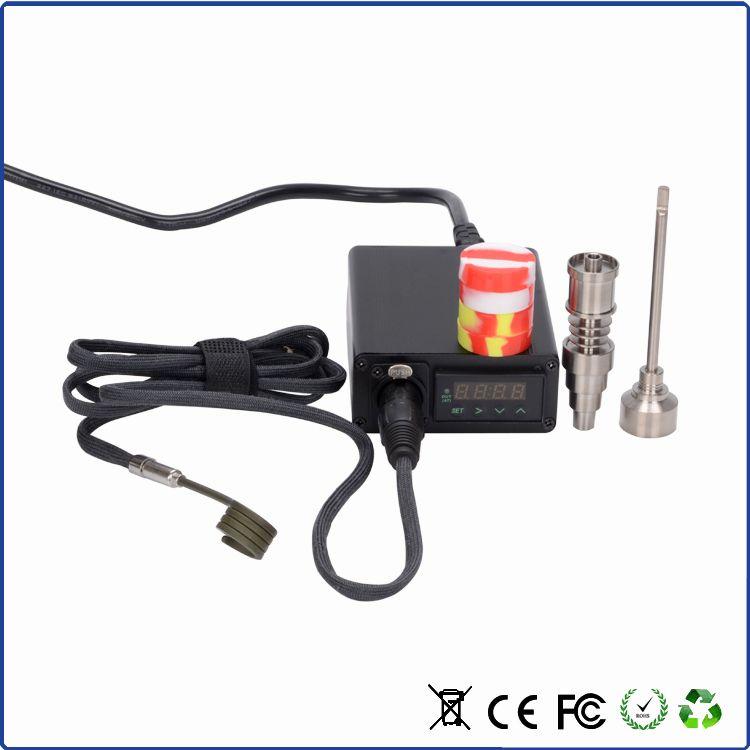Tragbare titanium enail elektrische tupfen nagel pid temperaturregelung e nail thumb kit wachs verdampfer 16mm 20mm bohrinsel dabber box glas bong