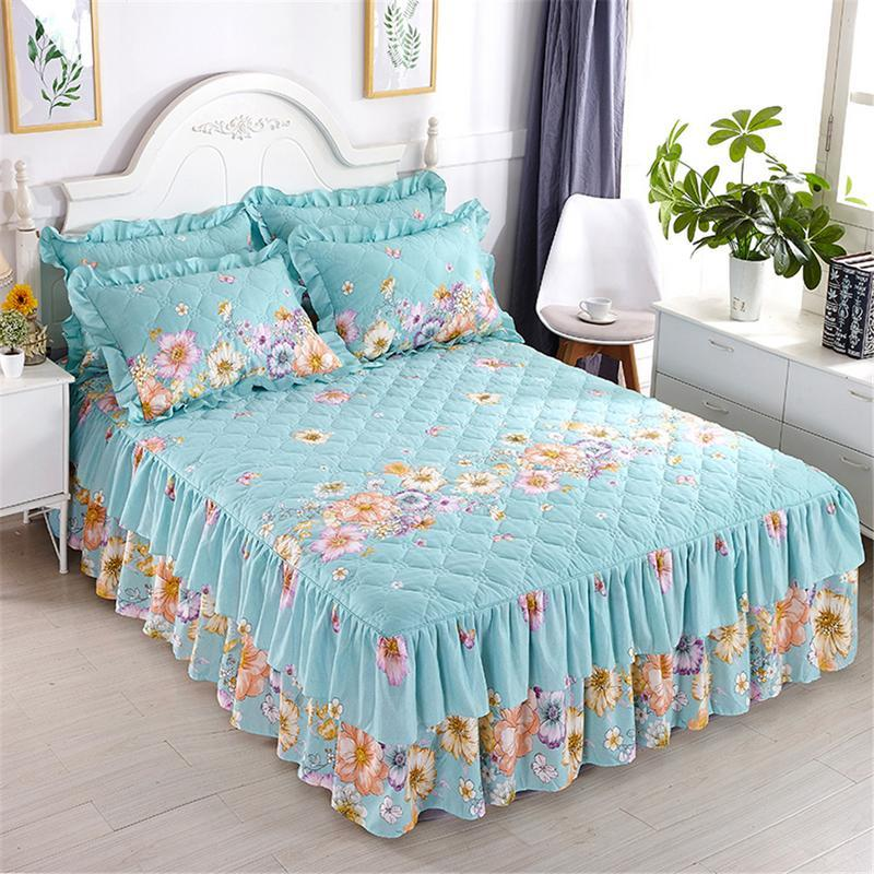 Funda Nordica One Piece.150 200cm Cotton Bed Cover Thickened Lace Bed Skirt Spread Funda Nordica Cama 150 Fast Shipping