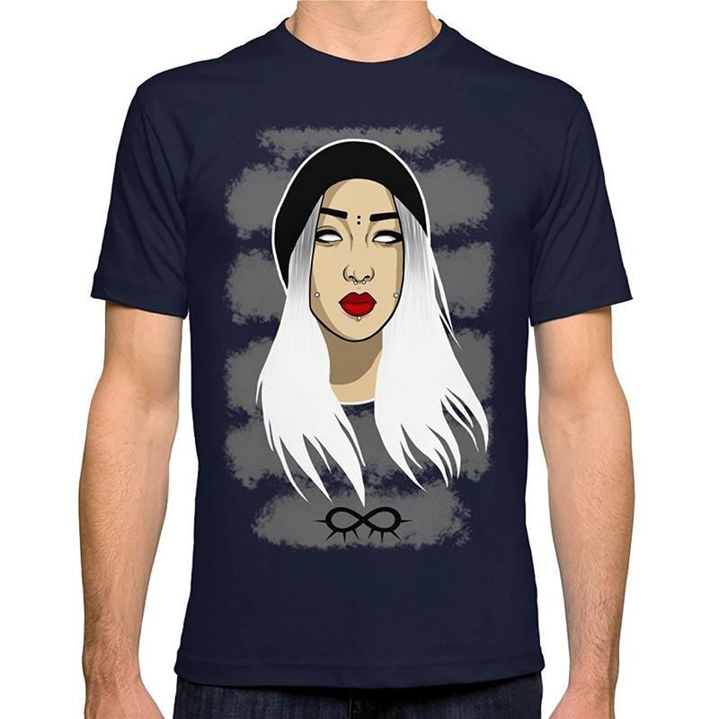 best website 65a03 91d86 T-shirt personalizzate online O-Collo manica corta La ragazza con i capelli  bianchi Moda T-shirt per uomo