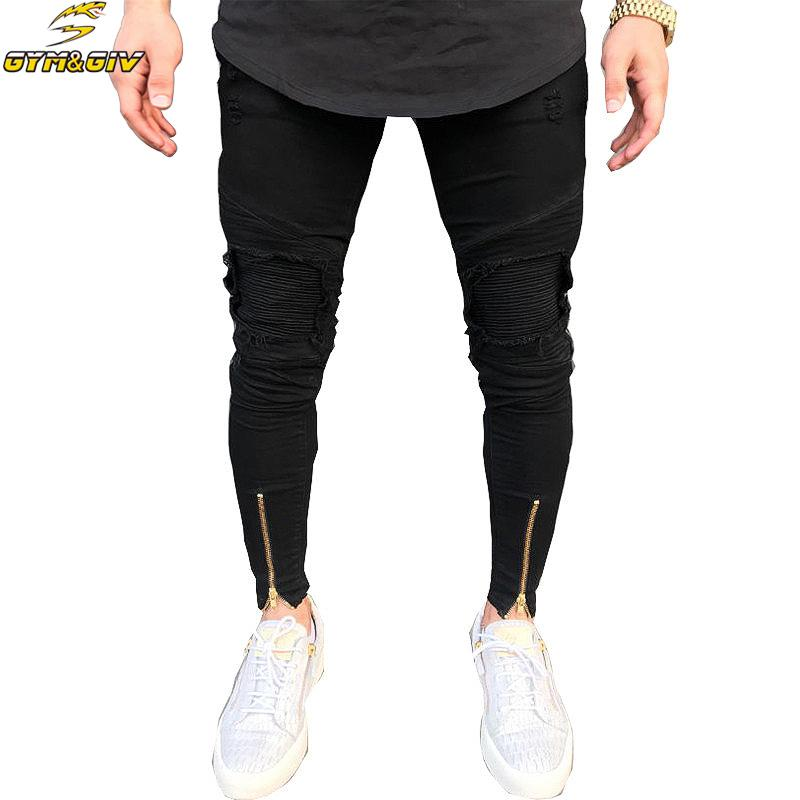 ea73cfc5 2018 new biker Jeans Mens Joggers Pants Stretch Ripped Black Denim  Destroyed Bottom zipper jeans Homme Pants Plus Size