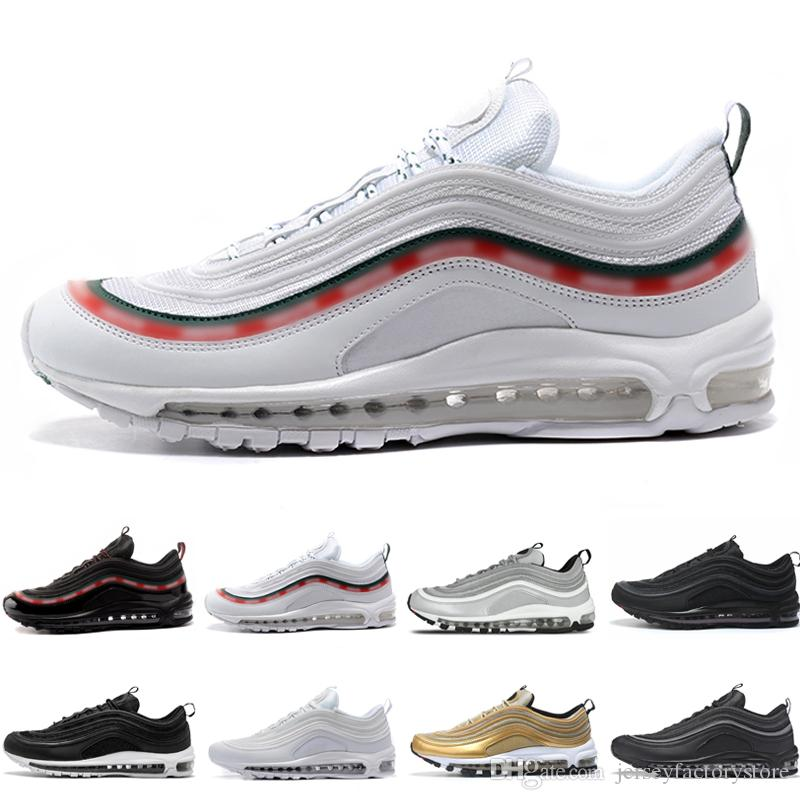 Discount Running 97 OG Tripel White Metallic Gold Silver Bullet Mens Running Trainers Best Sneakers Shoes with Box Men Women Drop shipping sale fast delivery ZGZBb