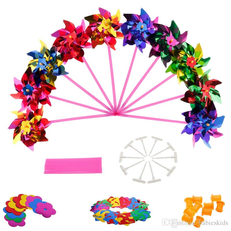 Colorful Novelty Toy Plastic Windmill Pinwheel Self-assembly Garden Lawn Party Outdoor Toy Gift For Boys Girls Baby