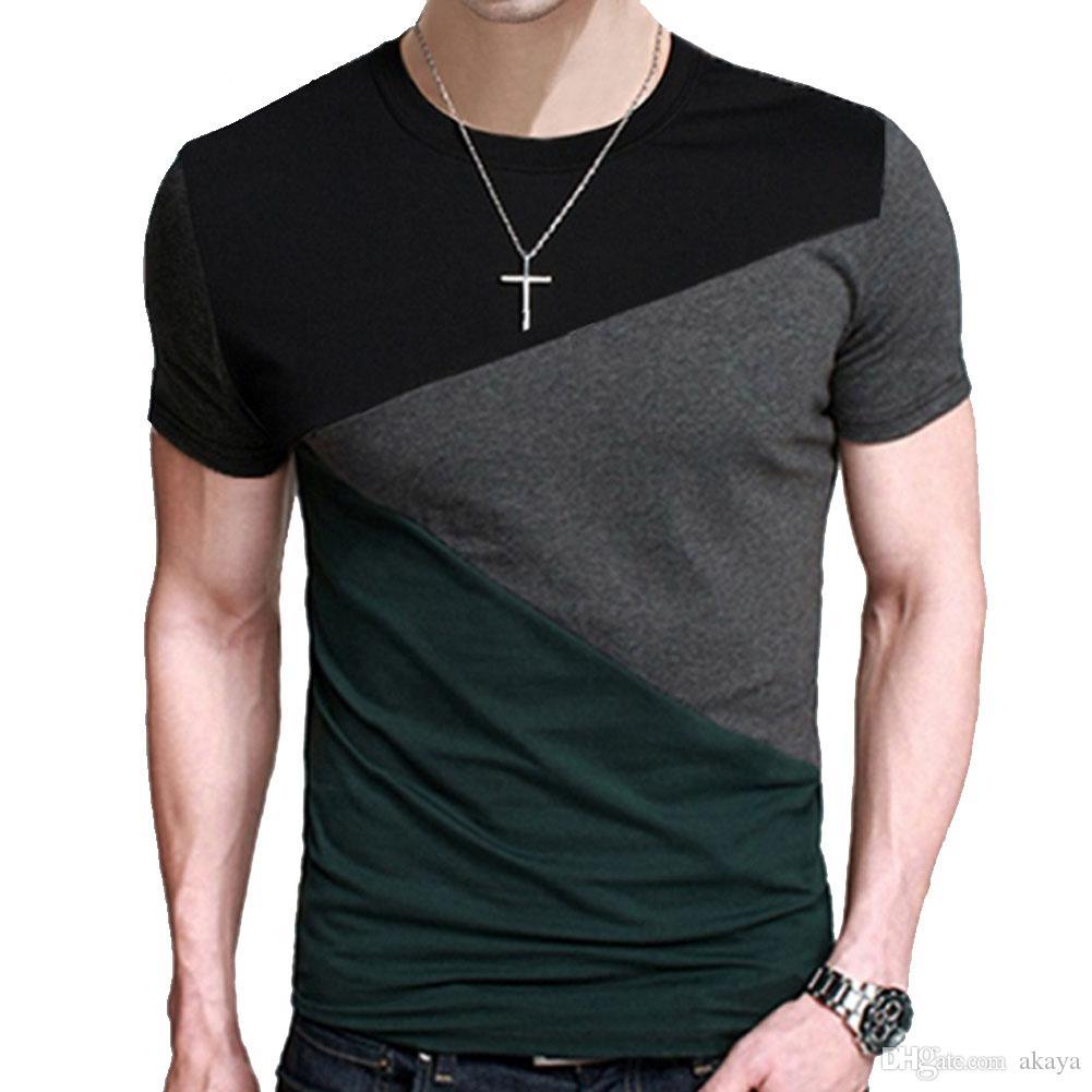Marke 2018 Männlichen Kurzarm T-shirt Oansatz Männer T-Shirt Hip-Hop Einfache Spleißen T Tops Shirt Männliche T-shirts XXXL 5363