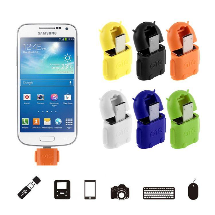 Mikro USB USB OTG Adaptör Android Robot Şekil OTG Adaptör için akıllı telefon, cep telefonu USB Flash Fare Klavye Bağlamak