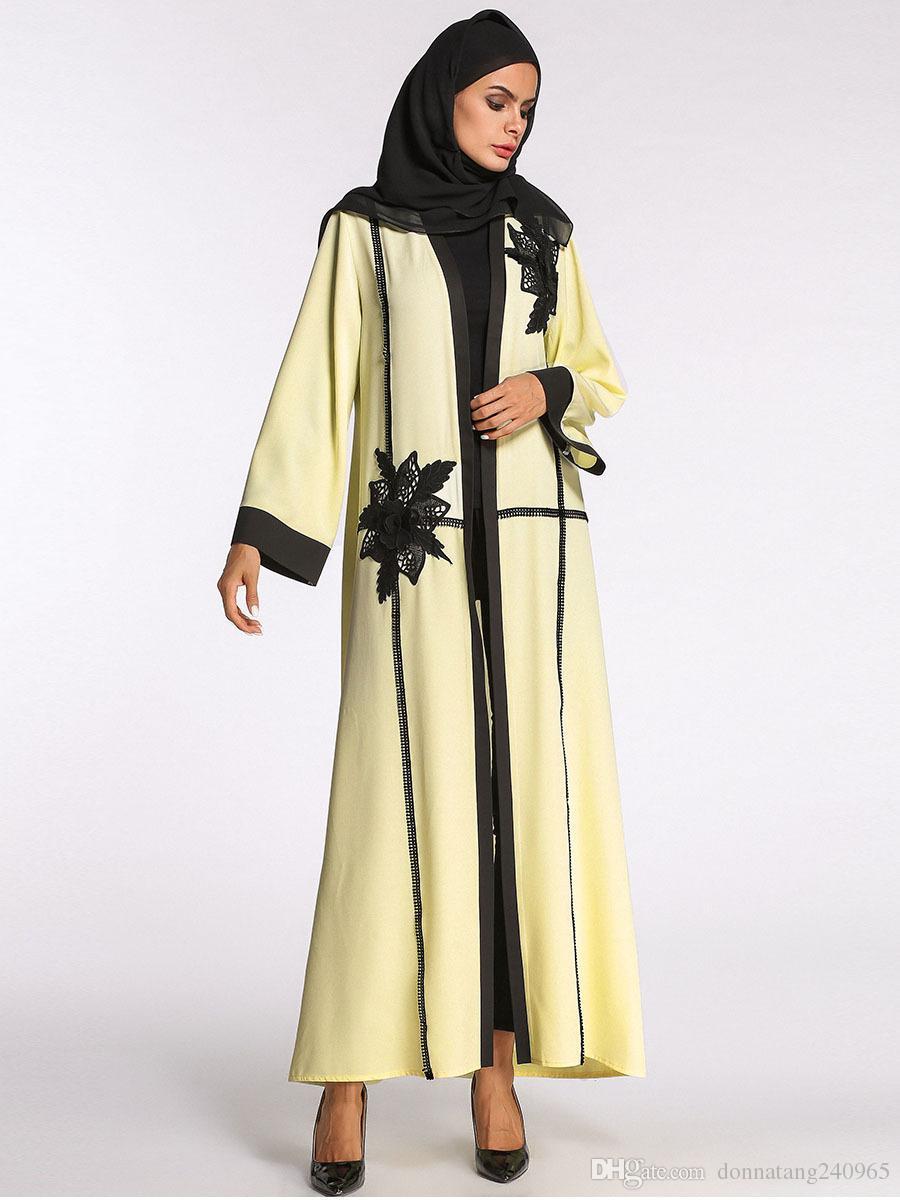 2981c63e3f 2019 New Fashion Women Plus Size Muslim Cardigan Crochet Lace Spliced Color  Block Long Sleeve Maxi Gown Islamic Dress From Dujotree, $22.35   DHgate.Com