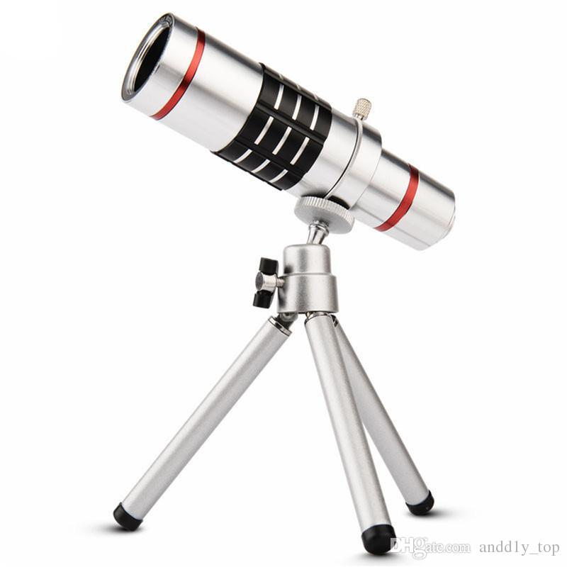 New Universal 18X Magnification Zoom Metal Optical Mobile Phone Telescope Telephoto Camera Lens With Clip Tripod For iphone 8 iPhone 7 Plus