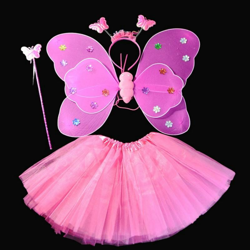 Halloween Dance Costumes Cosplay Fairy Princess Kids Butterfly Wings +Wand+Headband+Tutu Skirt