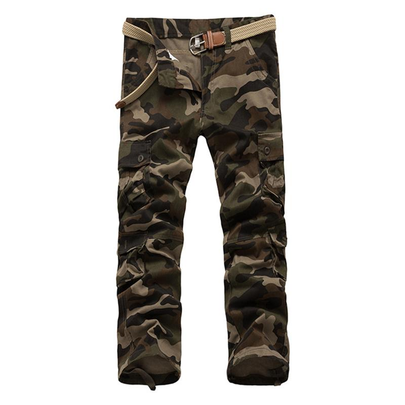 Men's Camouflage Pants Multi pocket Functional Camo Tactical Pants Mens Casual Cargo Trousers Military Army Overalls Trousers 42