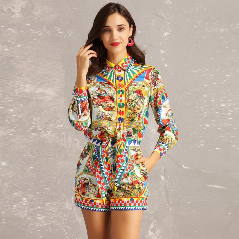 8803aaee5 Nuevo 2019 Primavera Verano Moda Diseñador de pista Dos piezas Conjuntos  Mujeres Manga larga Imprimir Cintura delgada Blusas cortas Shorts traje