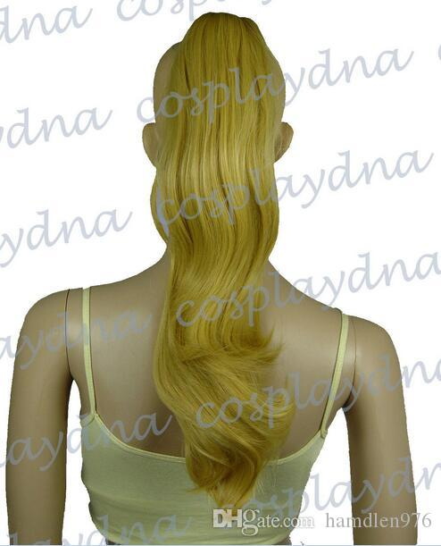 Envío gratisHeat Stylable Beige Blonde Clipon Curly Cosplay Ponytail