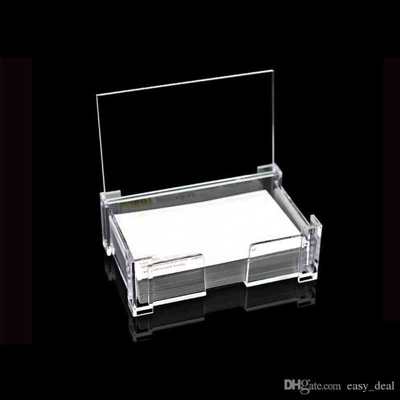 Portable Desk Business Card Storage Box Plastic Clear Name Cards Display Case Business Gifts For Men Women QW7149