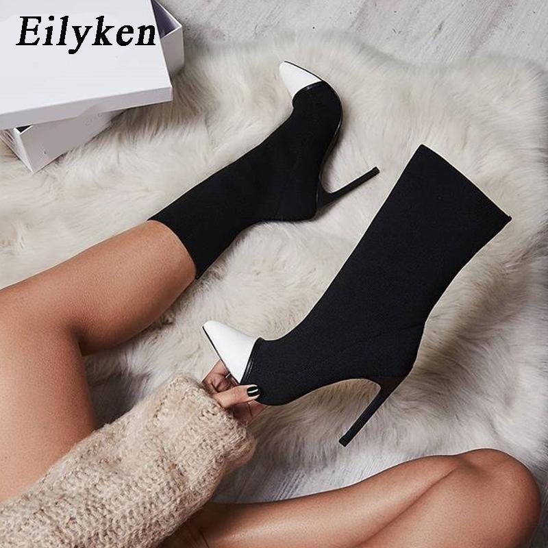 c2d2bd91c85ee Eilyken 2018 Neue Arriva Stretch Stoff Frauen Stiefeletten Spitz High Heels  Slip-On Sexy Socke Fersen Chelsea Stiefel size35-42