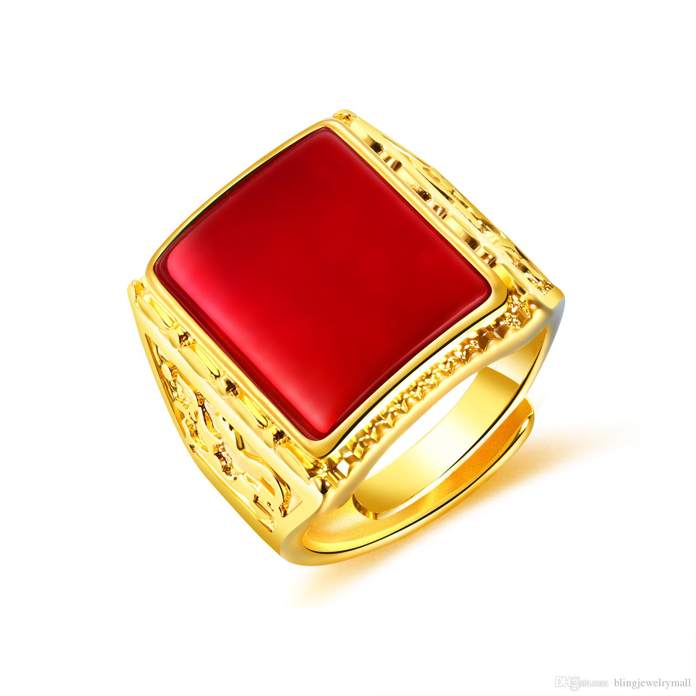 Grosshandel Schwarz Rot Grun Stein Edelstahl Manner Ring Gold