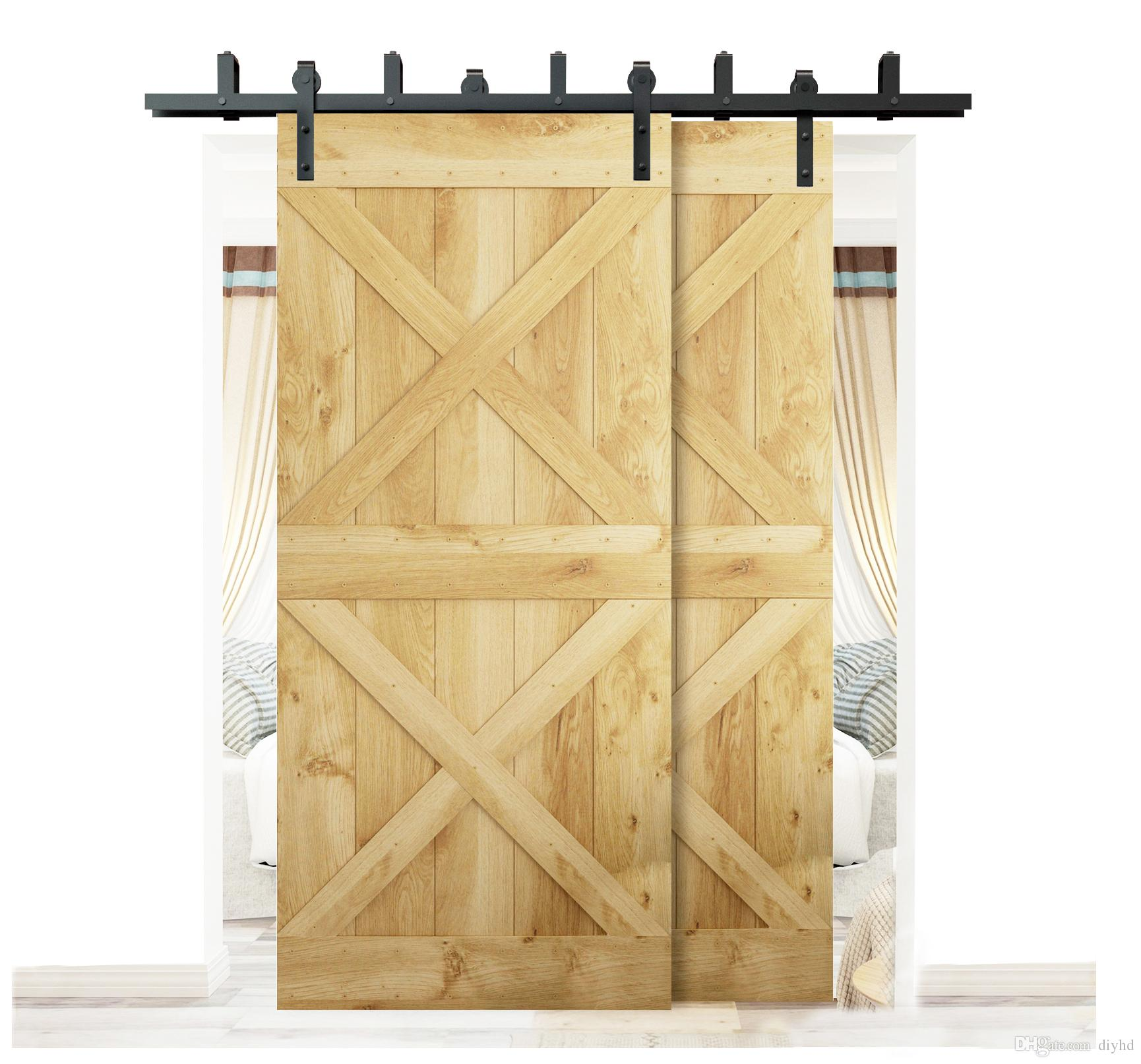 Diyhd 5 5ft 6ft bypass sliding barn wood closet door interior sliding door bent straight wheel hardware track kit bypass barn door barn wood door sliding