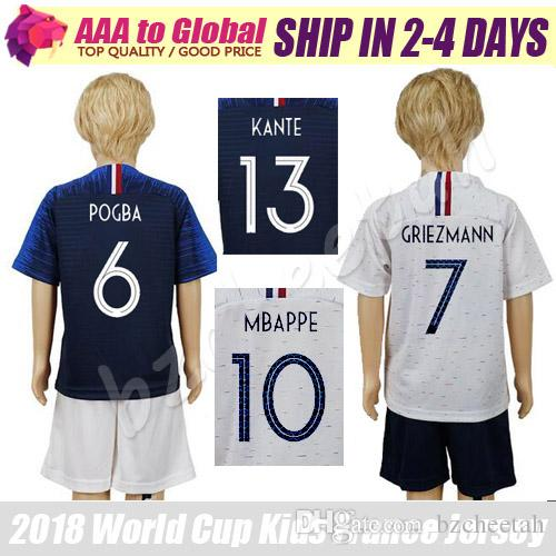 Niños Pogba Soccer Jersey 2018 Juego De Uniformes De Fútbol Para Niños 18  19 GRIEZMANN GIROUD DEMBELE UMTITI MBAPPE Camisetas Jóvenes Conjunto Por  Bzcheetah ... e1a42f7f45f8e