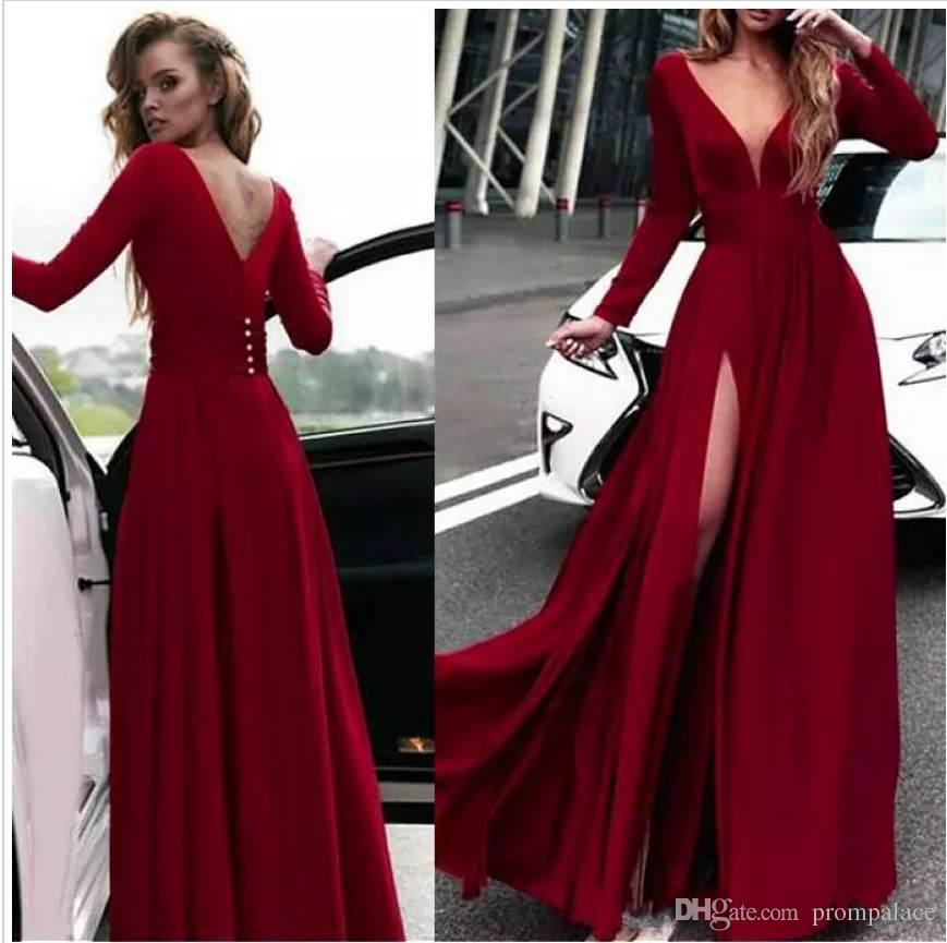 6d8f14f892fff Simple Chiffon Prom Dresses Sexy Deep V Neck Dark Red Open Back Side Split Evening  Gowns Long Formal Cocktail Party Dress Prom Dress Shop Prom Dresses For ...