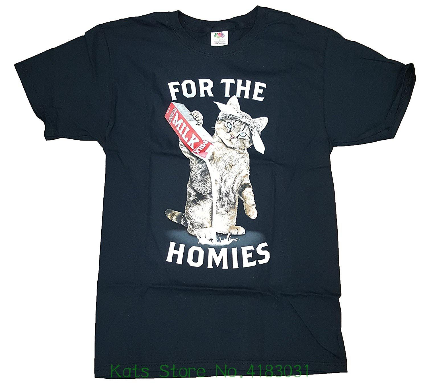 6fed931d4 ... Fashion Kitty Cat For The Homies Black Graphic T Shirt Hip Hop