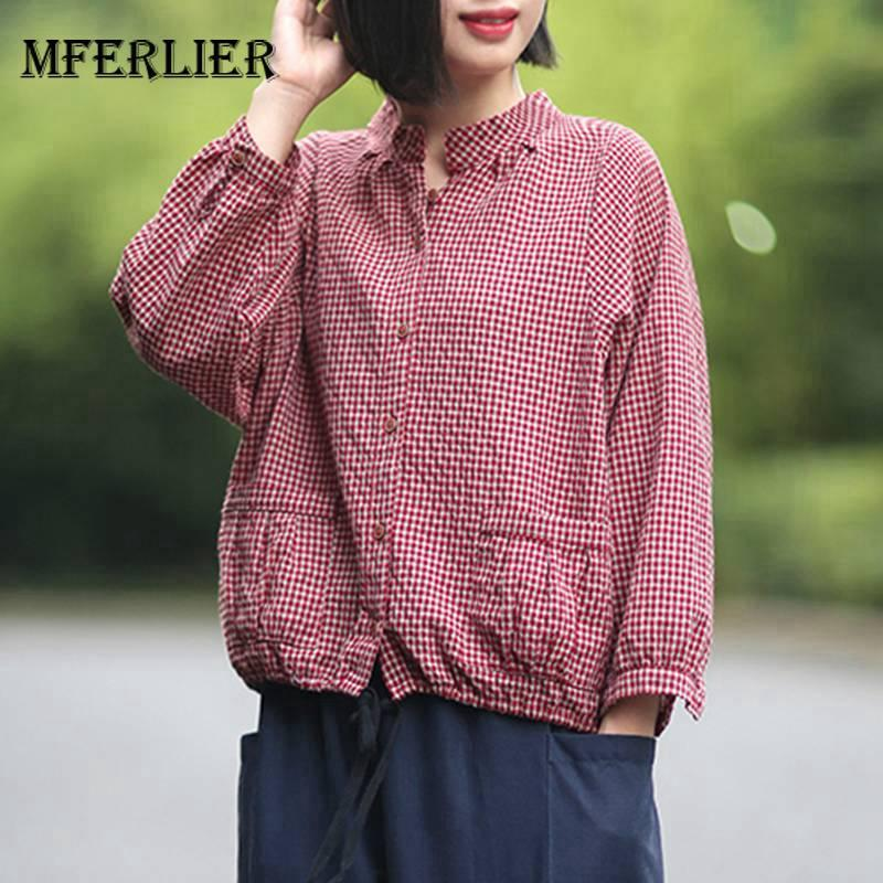 91bf8b882b828 2019 Mferlier Women Blouse Elegant Stand Collar Long Sleeve Lace Up Hem Big  Pockets Autumn Loose Cotton Linen Ladies Tops From Yuedanya