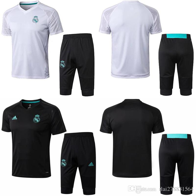 the latest ffed3 56863 2018 2019 Real Madrid soccer Training Suit Neymar JR Ronaldo GRIEZNMANN 18  19 F.TORRES Tracksuit short sleeve 3/4 pants football adult kit