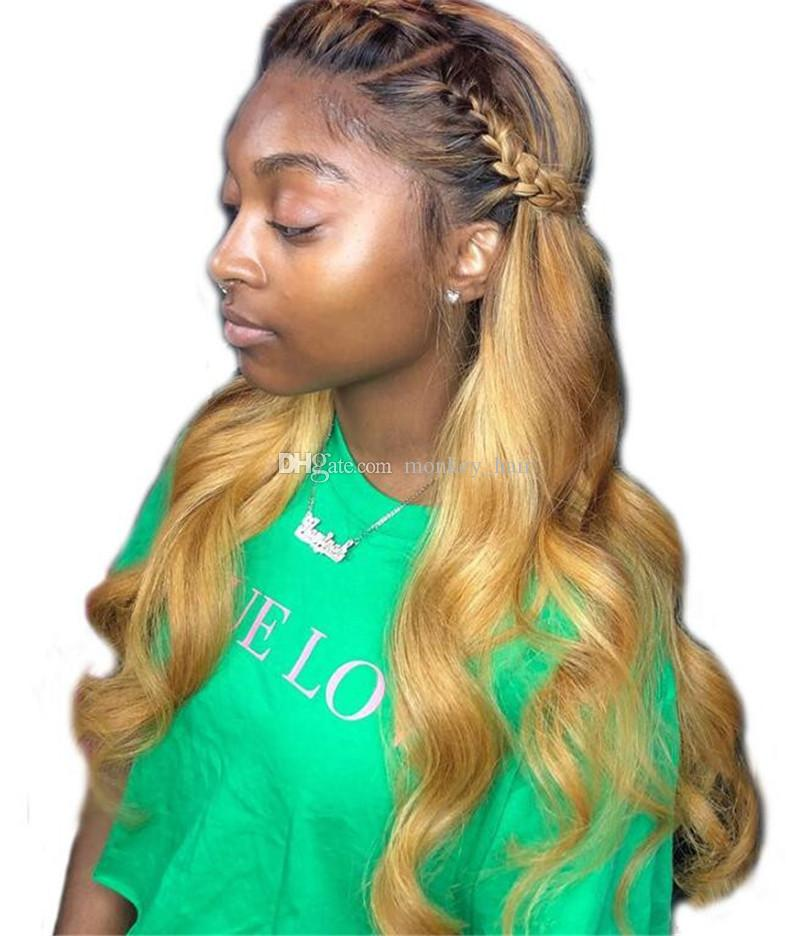Ombre 1b 27 150 Density Lace Front Wig Body Wave Wavy Remy Hair