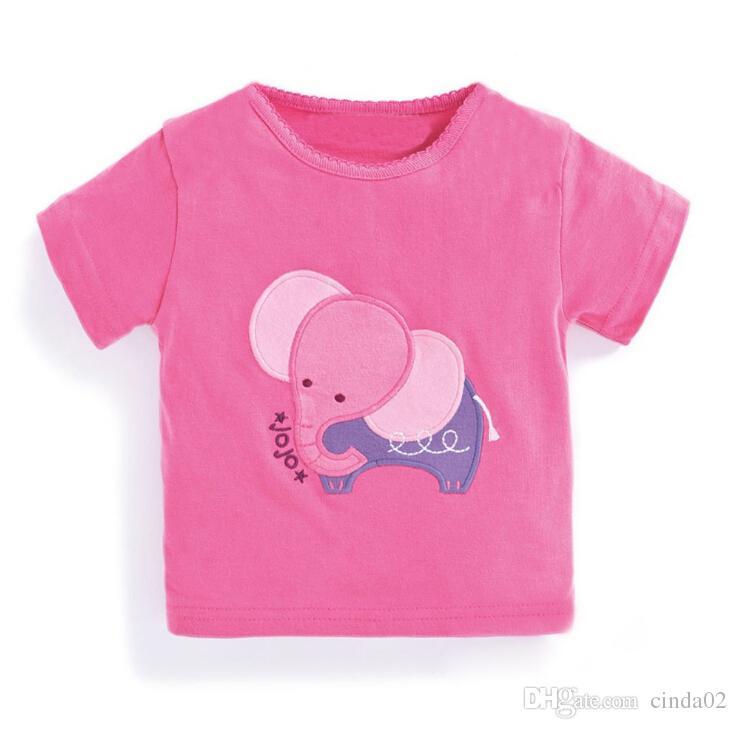 5472037e6d42 2019 Girl Elephant Pink T Shirt Kids Clothing Summer Cotton T Shirt Crew  Neck Elephant Sticker Tops Children Tee From Cinda02