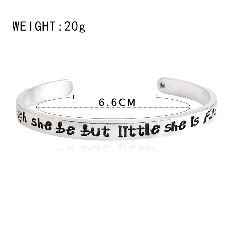 Fashion letter bangle bracelet jewelry Though she be but little she is fierce bangles Simple Open alloy bangles