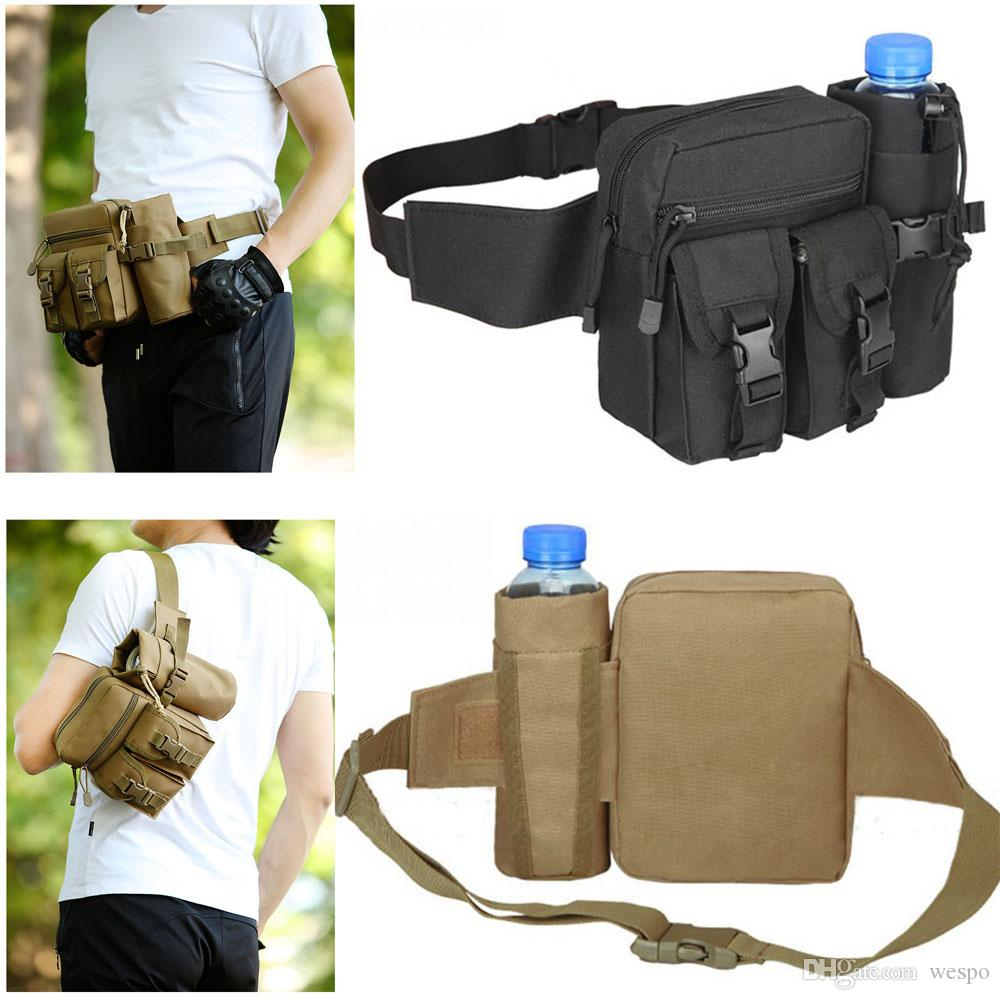 tactical EDC waist bag adjustable fanny pack Unisex Durable Nylon sling chest bag or shoulder backpack with detachable water bottle pouch