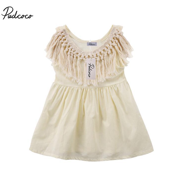 0736a85d94558 Filles Gland Col Eté Mini Robe Robe Robe Mode Nouveau-Né Enfant ...
