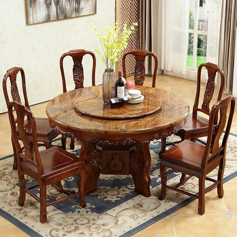 2018 Modern Minimalist Art Carving Chinese Marble Round Table Solid Wood  Round Table With Turntable Home Dining Table And Chair Combination From ...