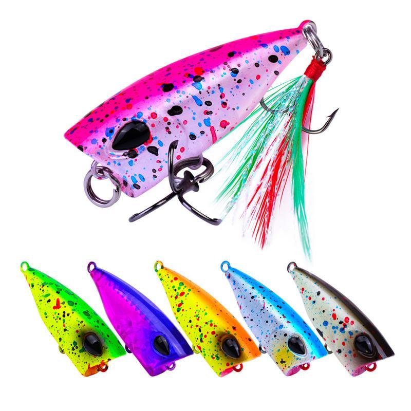 Mini Plastic Popper Crankbaits Lipless Fish Freshwater Fishing bait Feather hooks 4cm 4.3g Floating Swimming Lure For top water