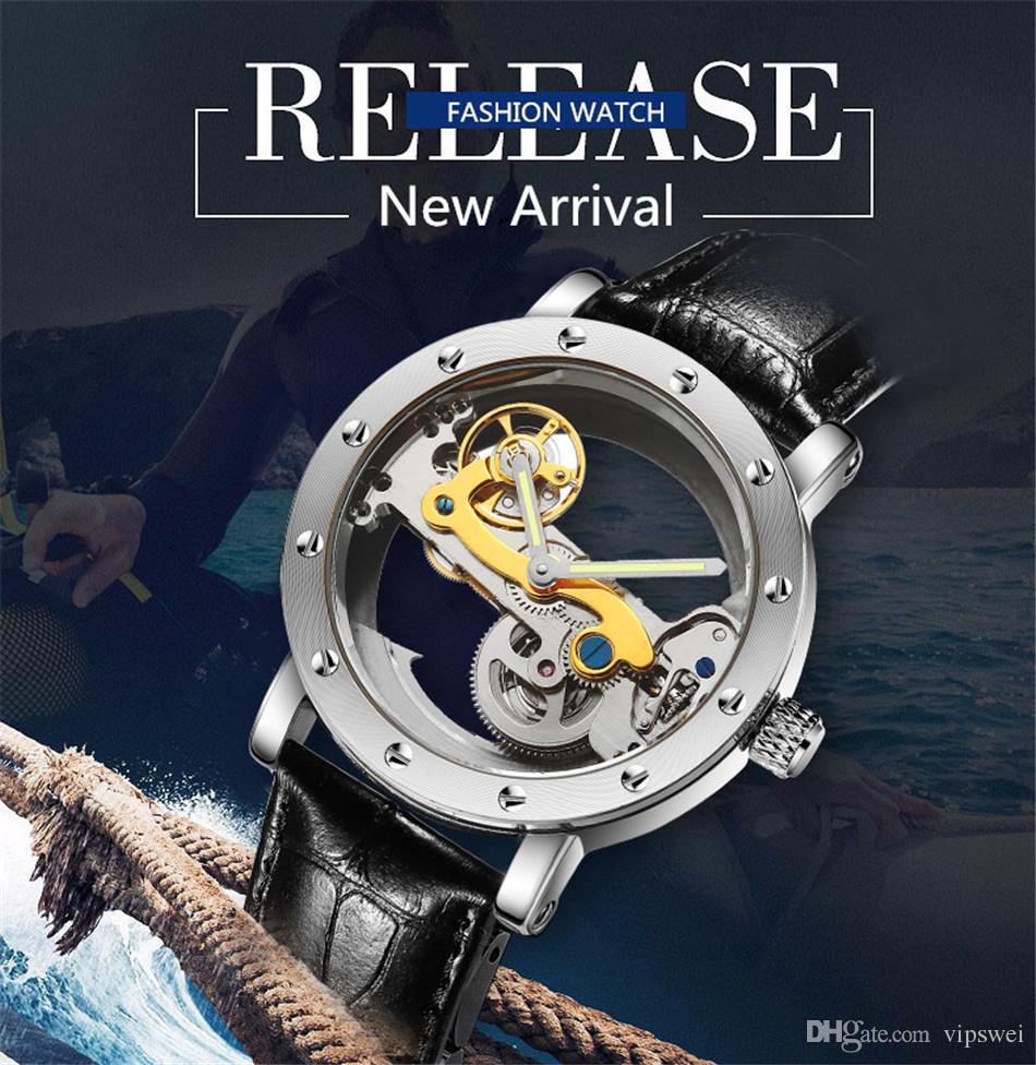 relógios de marcas clássicas Militar oco relógio Dial Luxo suíço Homens automático Tourbillon Mecânica fundo transparente de Mergulho de aço inoxidável