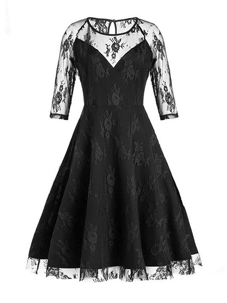4893593bb1 2019 Women Bodycon Dress Gothic Summer Black See-through Pencil Dress Three  Quarter Sleeve V-neck Female  lace Goth Dresses