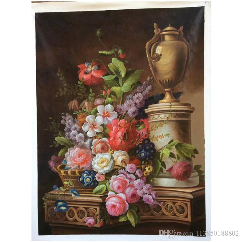 2018 Hand Painted Framed European Style Classical Flowers, Rich And ...